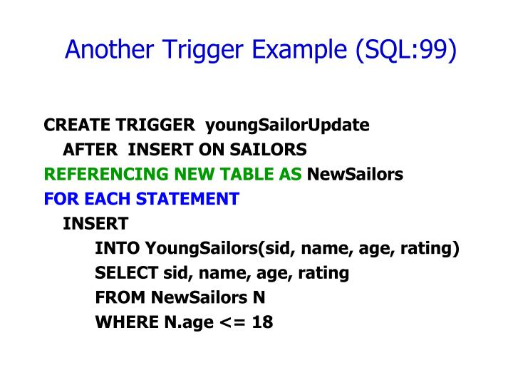 Another Trigger Example (SQL:99)