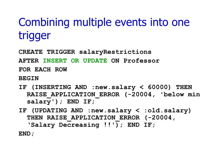 Combining multiple events into one trigger