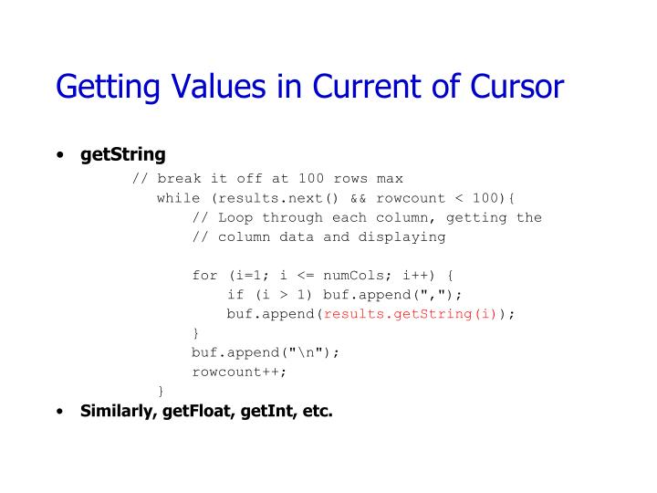 Getting Values in Current of Cursor