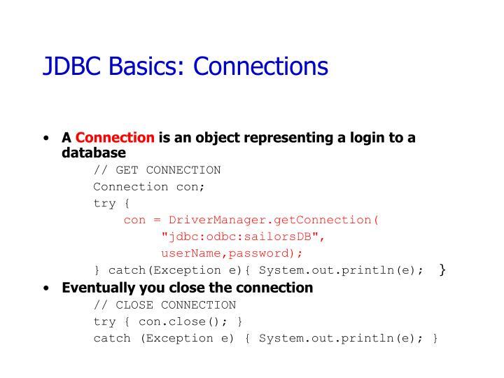 JDBC Basics: Connections