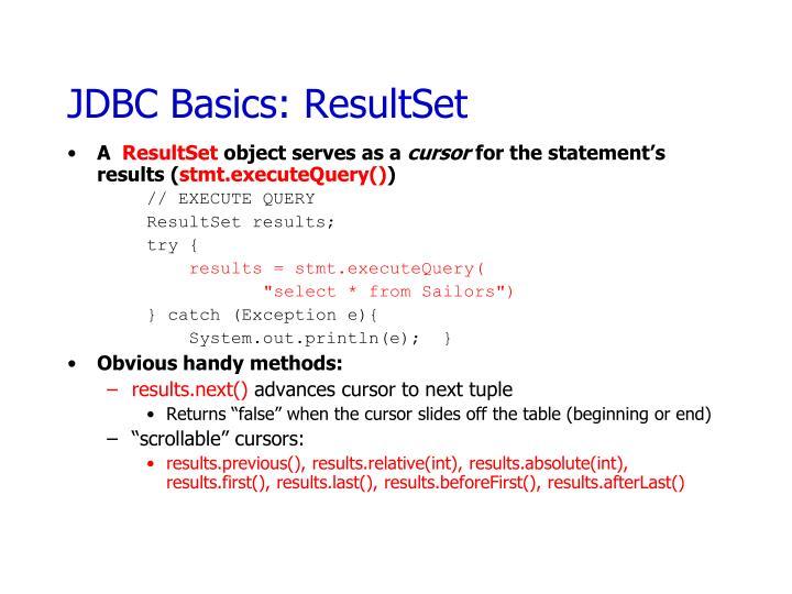 JDBC Basics: ResultSet