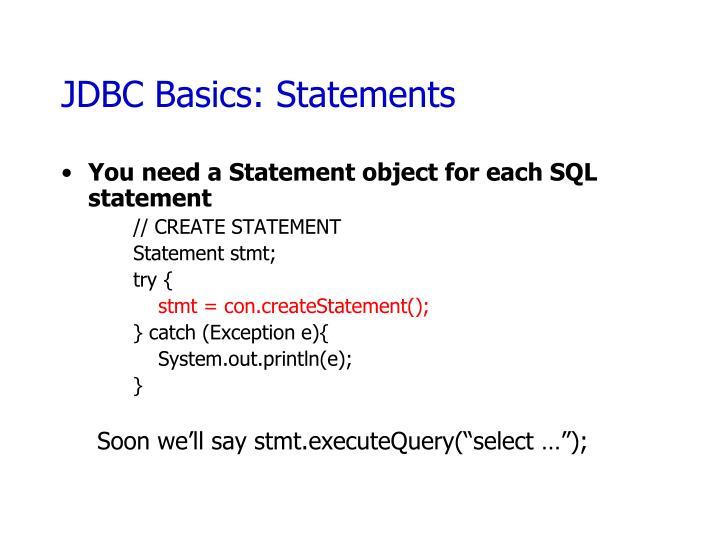 JDBC Basics: Statements