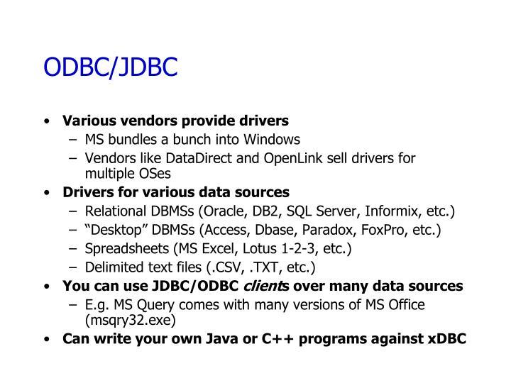 ODBC/JDBC