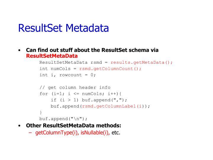 ResultSet Metadata