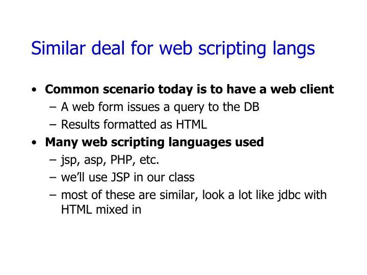 Similar deal for web scripting langs