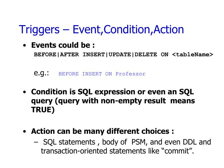 Triggers – Event,Condition,Action
