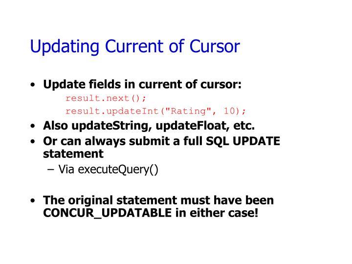 Updating Current of Cursor