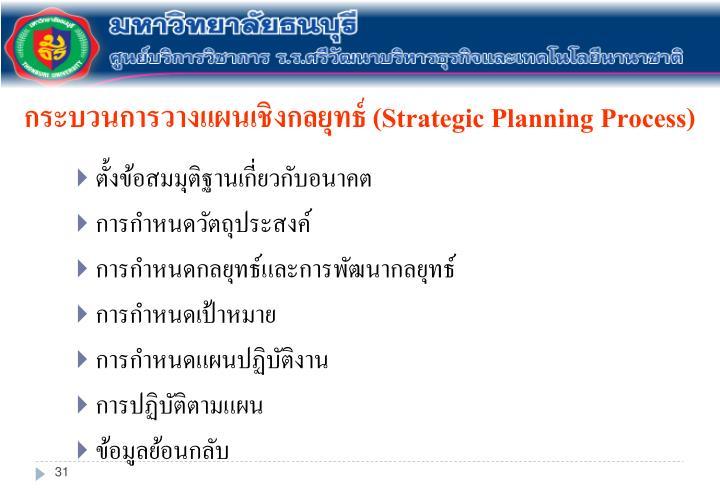 กระบวนการวางแผนเชิงกลยุทธ์ (