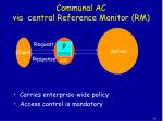 communal ac via central reference monitor rm