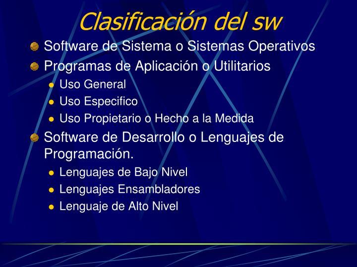 Clasificación del sw