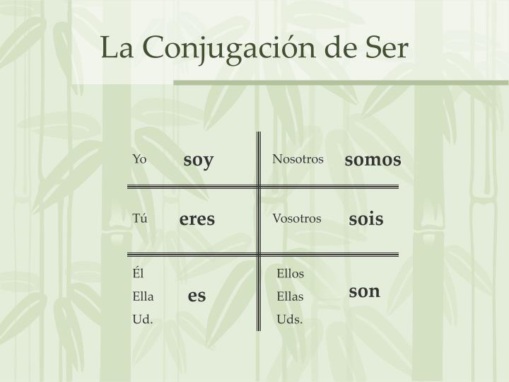 La Conjugación de Ser