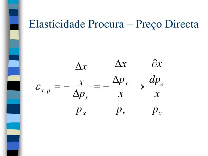 Elasticidade Procura – Preço Directa
