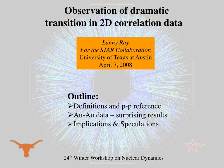 Observation of dramatic transition in 2D correlation data