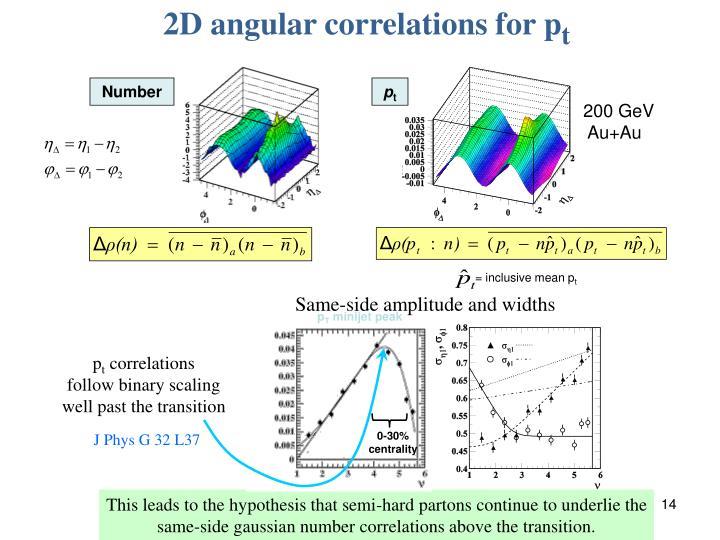 2D angular correlations for p