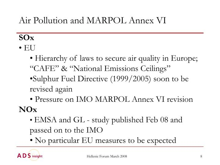 Air Pollution and MARPOL Annex VI