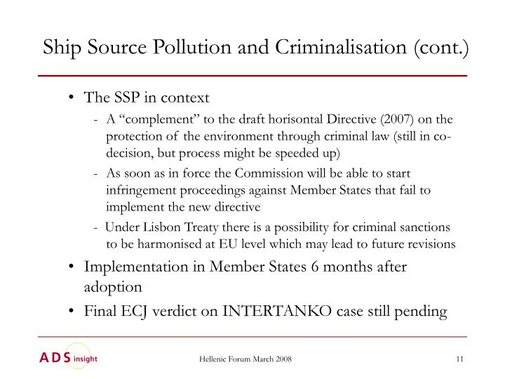 Ship Source Pollution and Criminalisation (cont.)
