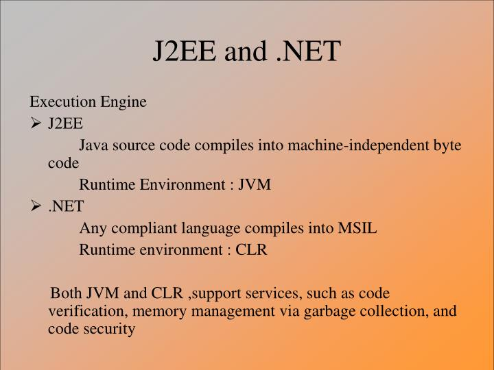 J2EE and .NET
