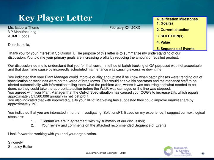 Key Player Letter