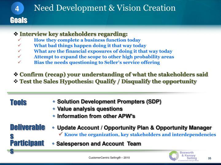 Interview key stakeholders regarding:
