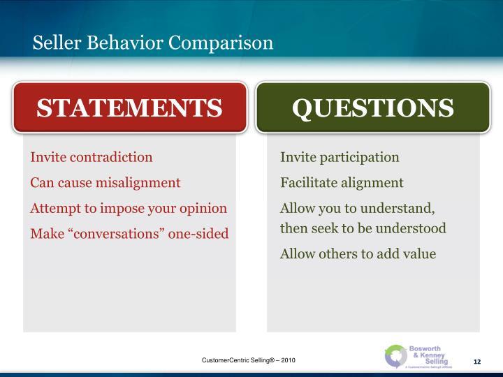 Seller Behavior Comparison