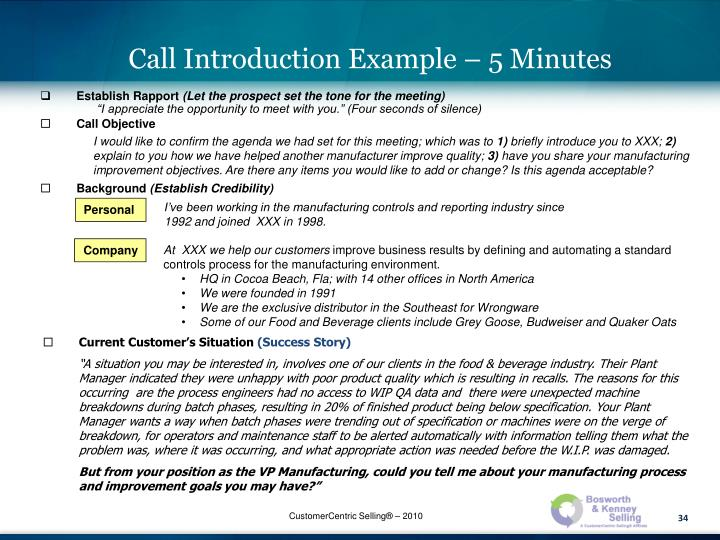 Call Introduction Example – 5 Minutes