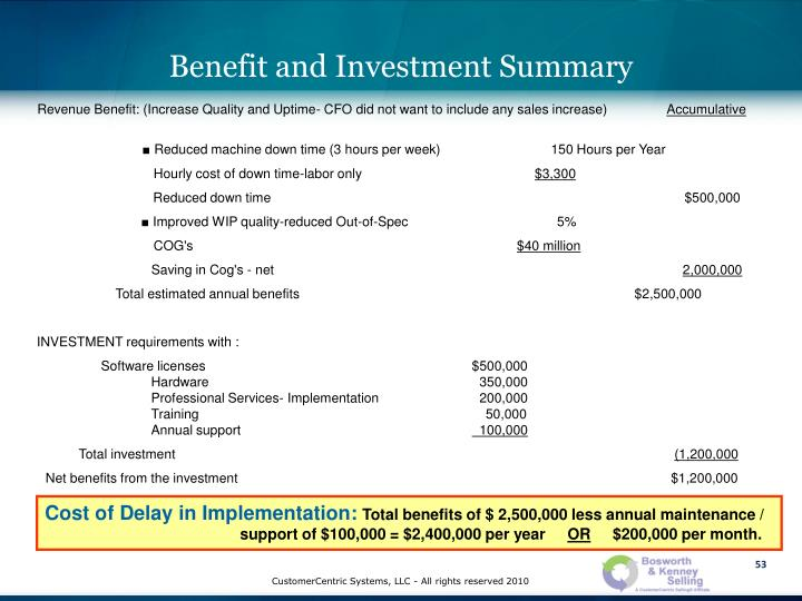 Benefit and Investment Summary
