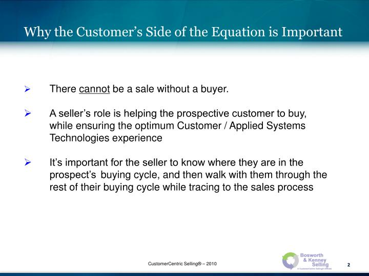 Why the Customer's Side of the Equation is Important