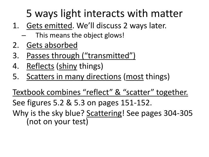 5 ways light interacts with matter
