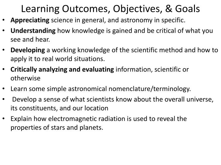 Learning Outcomes, Objectives, & Goals