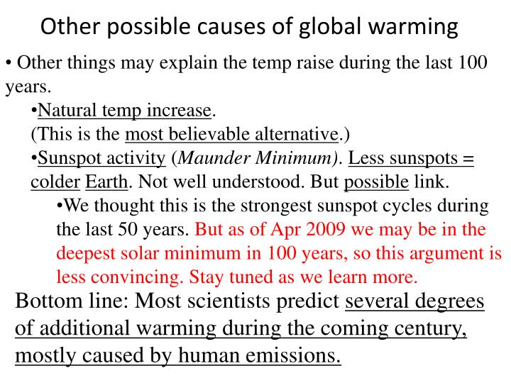 Other possible causes of global warming
