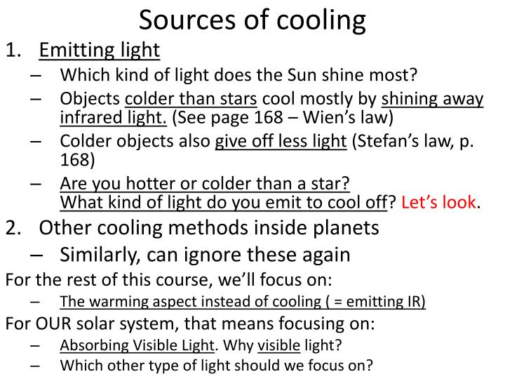 Sources of cooling