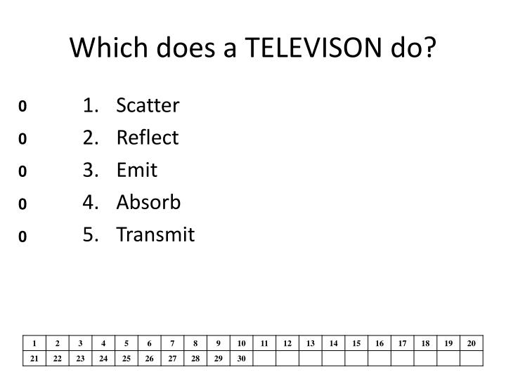 Which does a TELEVISON do?