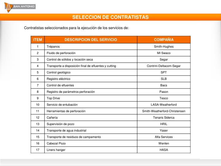 SELECCION DE CONTRATISTAS