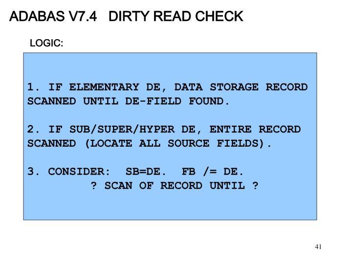 ADABAS V7.4   DIRTY READ CHECK