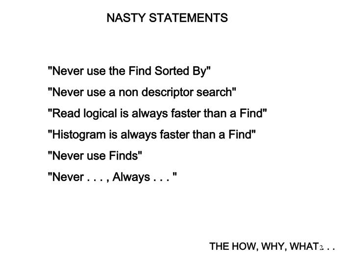NASTY STATEMENTS