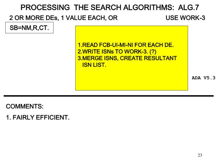 PROCESSING  THE SEARCH ALGORITHMS:  ALG.7
