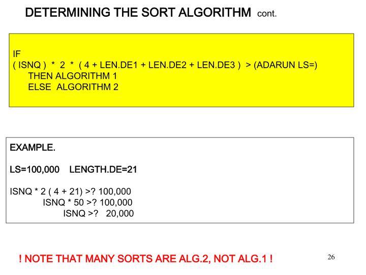DETERMINING THE SORT ALGORITHM