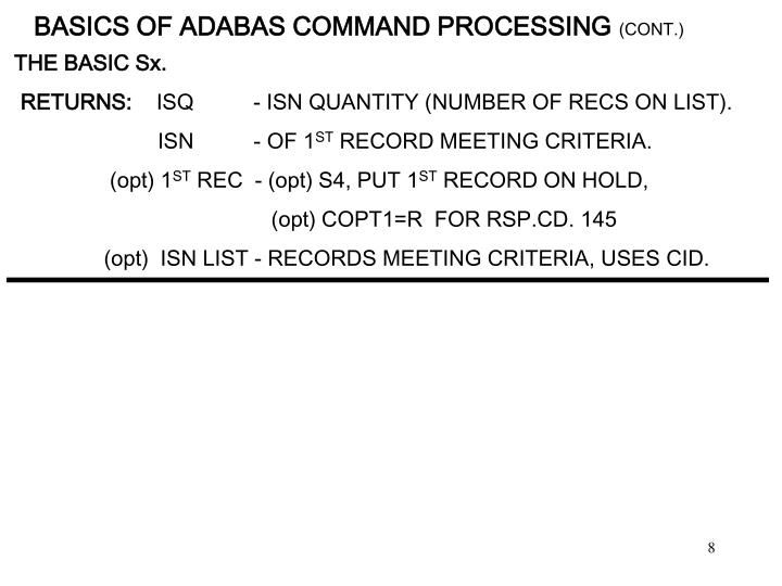 BASICS OF ADABAS COMMAND PROCESSING
