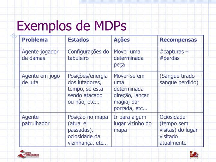 Exemplos de MDPs