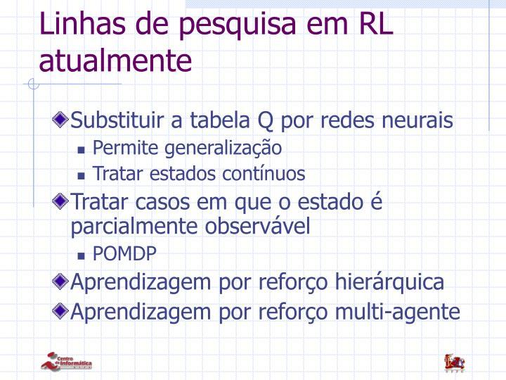 Linhas de pesquisa em RL atualmente