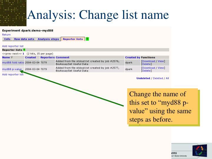 Analysis: Change list name