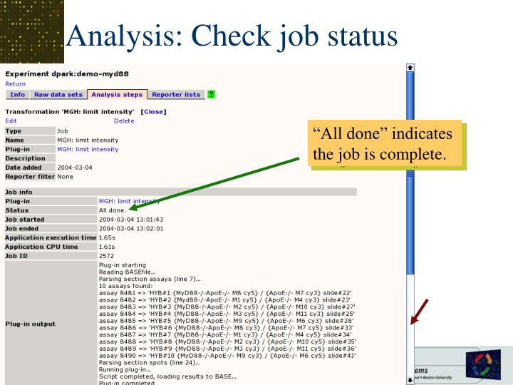 Analysis: Check job status