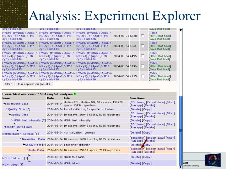 Analysis: Experiment Explorer