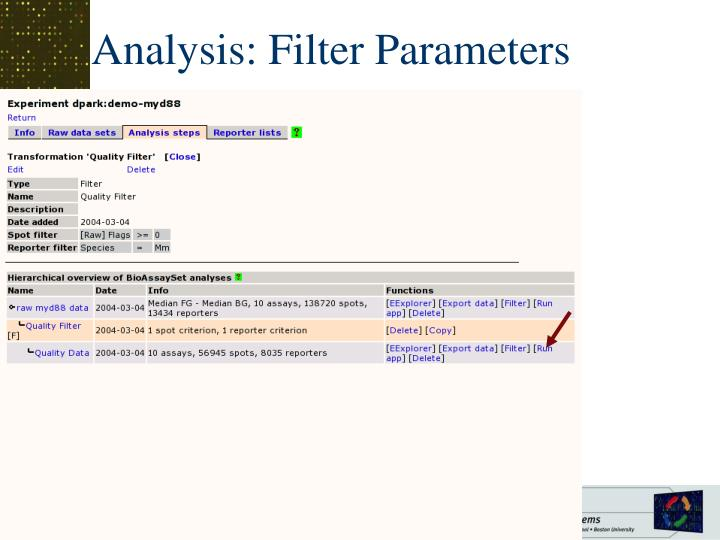 Analysis: Filter Parameters