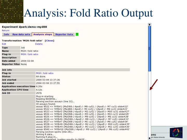 Analysis: Fold Ratio Output