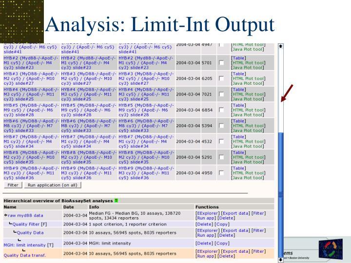 Analysis: Limit-Int Output