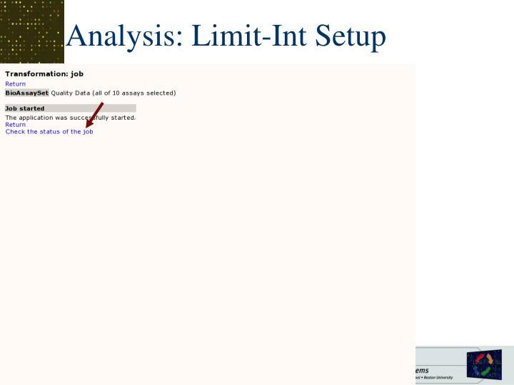 Analysis: Limit-Int Setup
