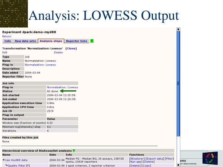 Analysis: LOWESS Output