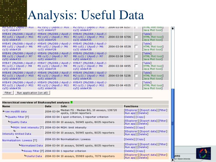 Analysis: Useful Data