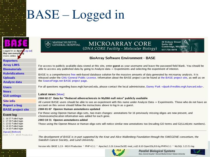 BASE – Logged in